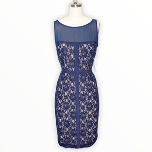 J. Taylor Navy Blue Lace Sheath Dress Sleeveless